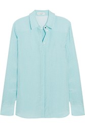 Altuzarra Chika Gingham Crepe Shirt Light Blue