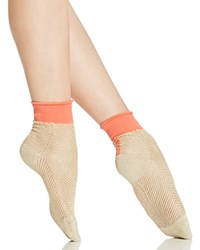 Free People Candice Metallic Ankle Socks Gold