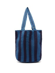 Guanabana Liam Stripe Woven Tote Bag Blue Navy