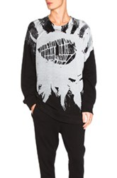 Ann Demeulemeester Printed Sweatshirt In Black Gray Abstract Black Gray Abstract