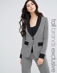 Fashion Union Tall Houndstooth Print Blazer With Contrast Detail Multi