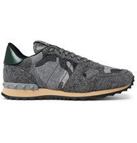 Valentino Camouflage Print Felt Sneakers Gray