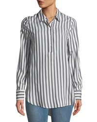Philosophy Shadow Striped High Low Woven Blouse White Pattern