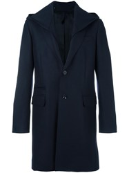 Paolo Pecora Buttoned Hooded Coat Blue