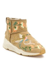 Ash Muse Embroidered Suede And Fur Wedge Booties Camel