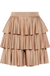 Balmain Tiered Ruffled Satin Bandage Shorts Sand