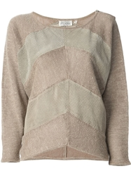 Gianfranco Ferre Vintage Leather Panel Sweater Nude And Neutrals