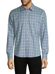 Hyden Yoo Plaid Cotton Button Down Shirt Blue Green Multi