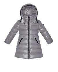 Moncler Moka Long Quilted Puffer Coat Silver