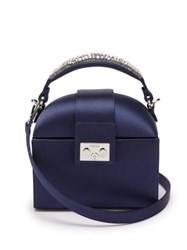 Rodo Trunk Crystal Embellished Satin Cross Body Bag Navy