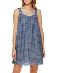 Eileen West V Neck Sleeveless Cotton Chemise Blue