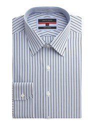 Pierre Cardin Stripe Tailored Fit Classic Collar Formal Shirt Blue