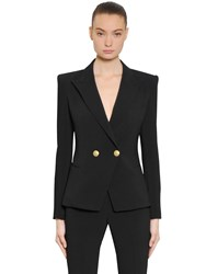 Balmain Double Breasted Viscose Crepe Jacket