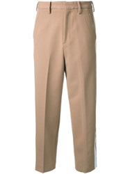 Cityshop Cropped Side Stripe Trousers Brown