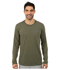 Adidas Ultimate Long Sleeve Crew Tee Base Green Dgh Solid Grey Men's Workout Olive