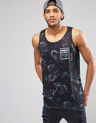 Asos Relaxed Linen Look Vest With Floral Print Black