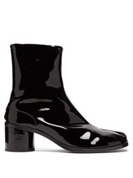Maison Martin Margiela Tabi Split Toe Patent Leather Boots Black