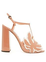 Rochas Leaf Applique Patent Leather Sandals Nude Multi