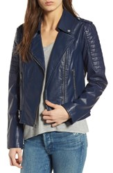 Andrew Marc New York Women's Leanne Faux Leather Jacket Navy