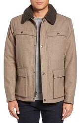 Kenneth Cole Men's New York Faux Shearling Collar Wool Blend Jacket Almond
