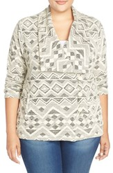 Plus Size Women's Lucky Brand Aztec Tweed Jacket