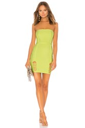 By The Way Cassidy Lace Up Slit Bandage Dress Yellow