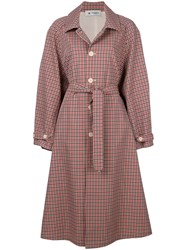Barena Checked Button Coat Red