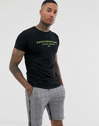 Good For Nothing Muscle T Shirt With Neon Logo In Black