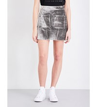 Opening Ceremony Stamped Crocodile Embossed Velvet Mini Skirt Charcoal