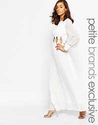 True Decadence Petite Long Sleeve Maxi Dress With Cut Out Waist White