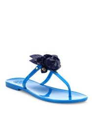 Tory Burch Blossom Jelly Thong Sandals Brilliant Blue
