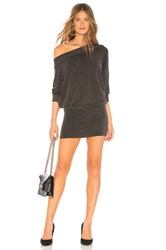 Indah Baby Ruth Boat Neck Mini Dress Charcoal