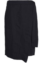 Dkny Crepe Wrap Skirt Blue