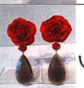Bahina 18K Yellow Gold Earstuds With Real Red Roses Coral Roses And Smokey Quartz Multi