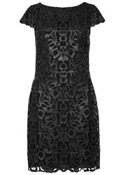 Alice Olivia Penni Black Faux Leather Lace Dress