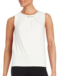 Calvin Klein Pleated Metallic Accented Tank Cream