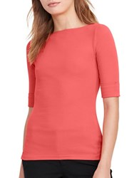 Lauren Ralph Lauren Judy Elbow Length Sleeve Slim Fit Tee Summer Peach