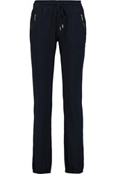Michael Michael Kors Brushed Cotton Blend Jersey Track Pants Blue