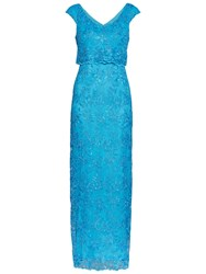 Gina Bacconi Embroidered Corded Mesh Maxi Dress Summer Blue