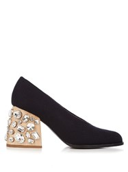 Marni Crystal Embellished Block Heel Felt Pumps Black