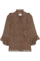Mikael Aghal Woman Ruffle Trimmed Leopard Print Georgette Blouse Light Brown