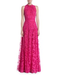 Escada Sleeveless Halter Ruffle Neck A Line Lace Evening Gown Bright Pink