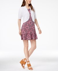Ny Collection Petite Ruffled Dress And Shrug Pink Baseink