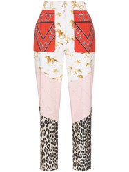 Ganni Sweeny Patchwork Print Trousers Neutrals