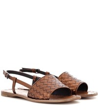 Bottega Veneta Intrecciato Leather Sandals Metallic
