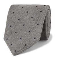 Drakes Drake's 8Cm Polka Dot Wool And Silk Blend Tie Gray