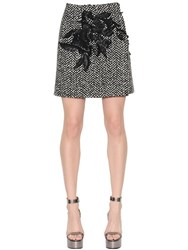 Ermanno Scervino Leafs Embroidered Wool Boucle Skirt