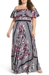 Eliza J Plus Size Women's Off The Shoulder Print Maxi Dress