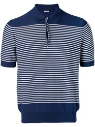 Malo Striped Polo Shirt Men Cotton 50 Blue