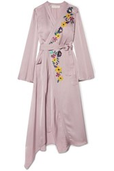 Etro Wrap Effect Embroidered Satin Midi Dress Lilac